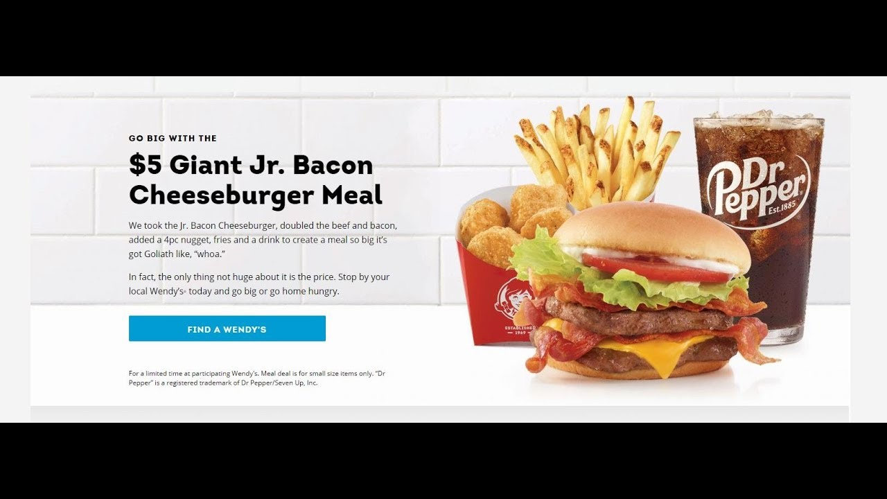 Wendy S 5 Giant Junior Bacon Cheeseburger Meal Yes Son Youtube