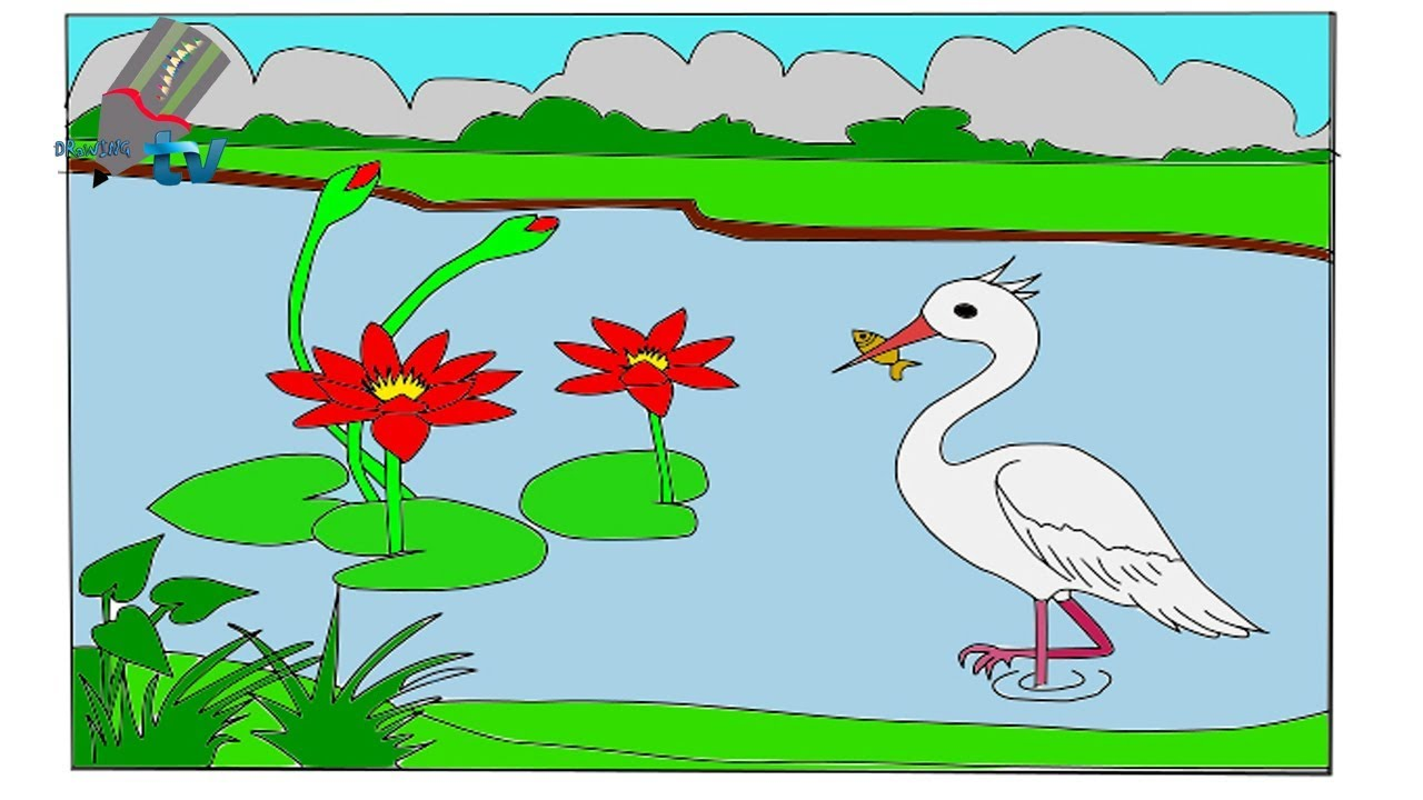 How to draw scenery by drawing of nature step by step drawing tutorial video cartoon for kids
