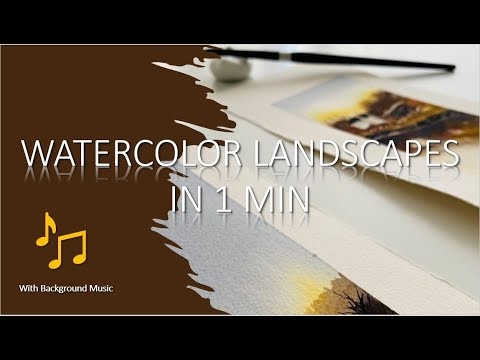 1 MINUTE Speed Painting of FALL WATERCOLOR LANDSCAPE | Background Music