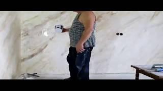 как сделать стену под мрамор