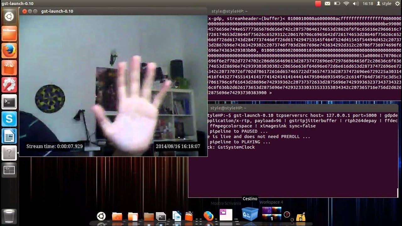 test gstreamer: tcp streaming from webcam