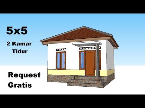 desain rumah minimalis 5x5 meter - 2 kamar tidur - youtube