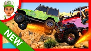 Cartoon. City racing on jeep and monster truck. Cartoon for children