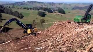 Forestry operation on a steep slope using a shovel process. Shovel logging.