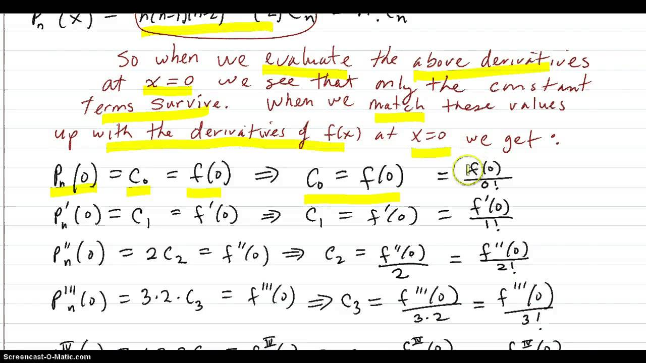 Nth Degree Taylor Polynomial Formula Development