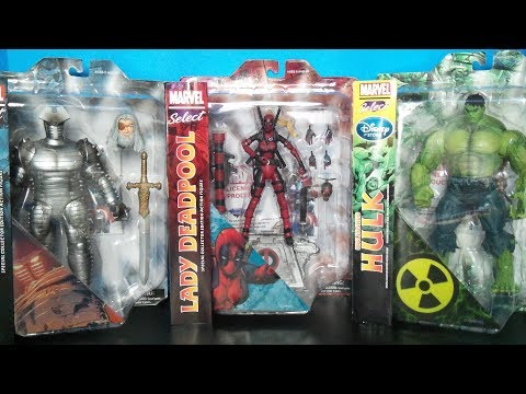 Marvel Select Odin the Destroyer,Lady Deadpool and Unleashed Hulk Disney Store Exclusive Figures