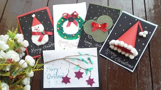 Christmas greeting cards diy ( 5 easy and unique Christmas cards)🎄🎄