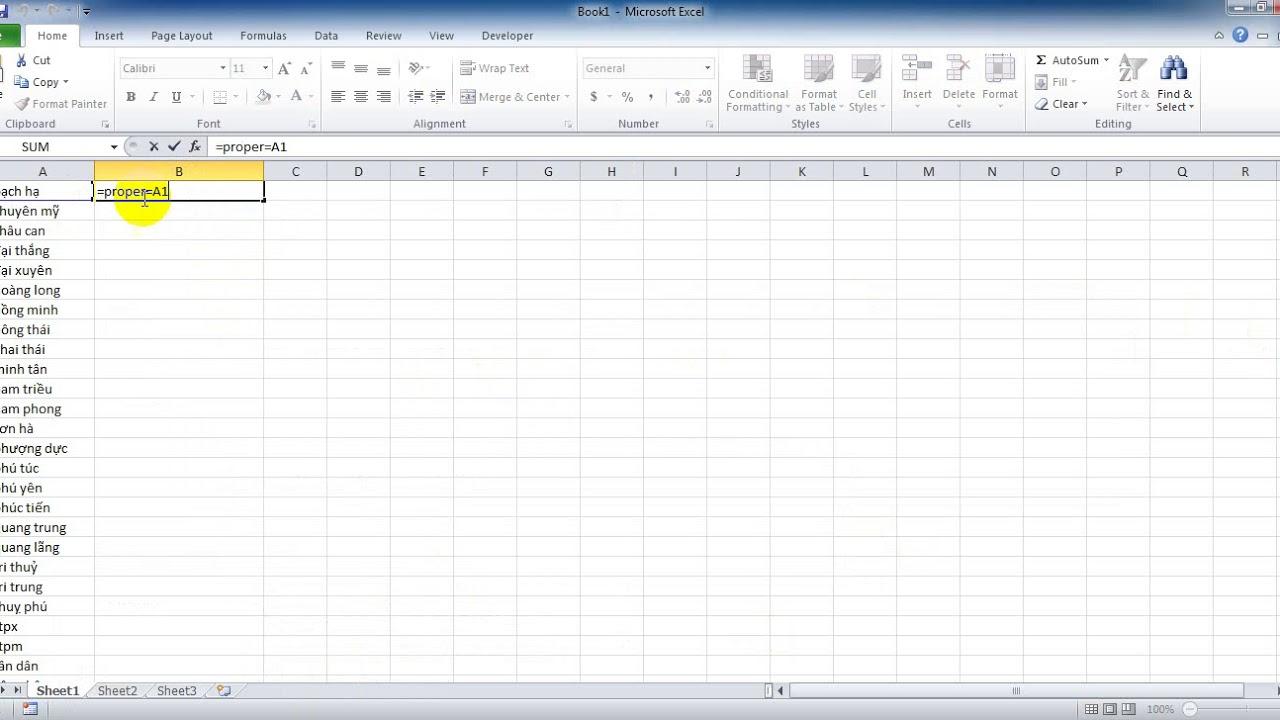 Đổi chữ thường thành chữ in hoa (tên riêng) trong Excel
