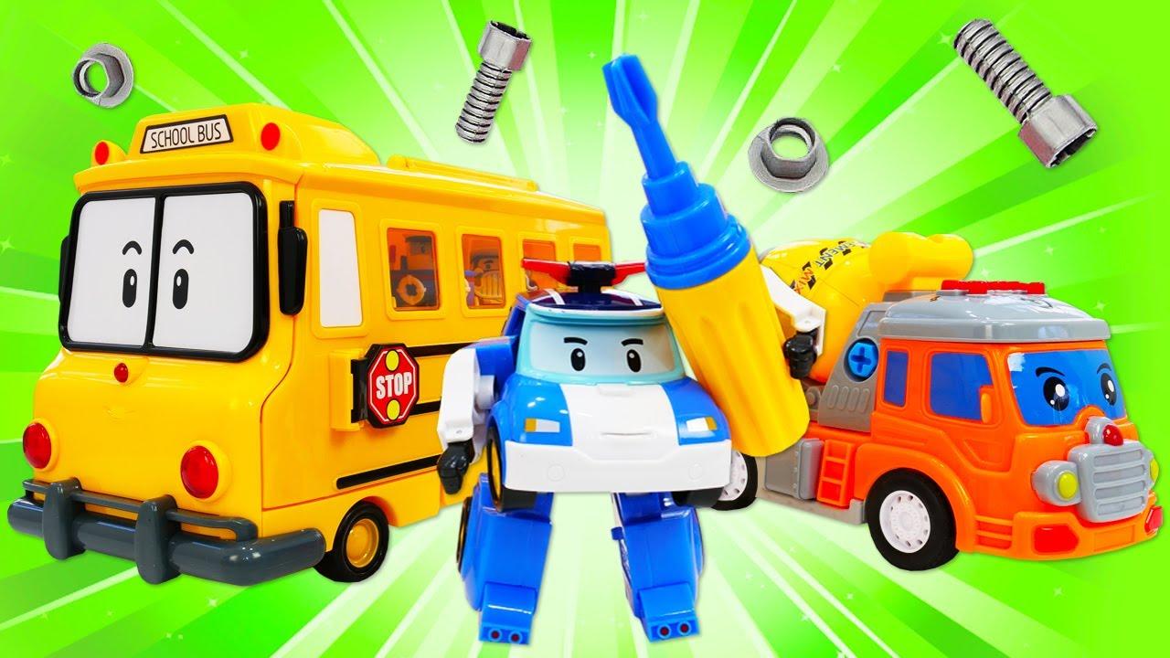Robocar Poli et son équipe en jouets. Le camion tombé. Vidéos en français pour enfants.