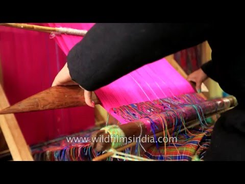 Carpet and shawl weaving on a Bhutanese loom