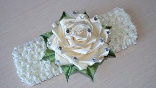 Роза из лент своими руками МК канзаши повязка на голову DIY Rose Flower Headband Kanzashi 髪のヘッドバンド