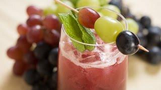 Black Grape, Tamarind, And Mint Lemonade With Trio Of Grape Skewers