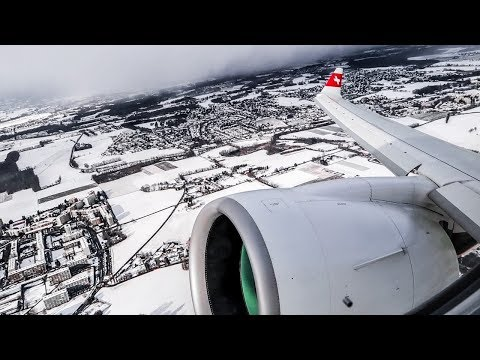 SWISS Bombardier CS100 BEAUTIFUL SNOWY WINTER TAKEOFF from Geneva Airport (GVA)