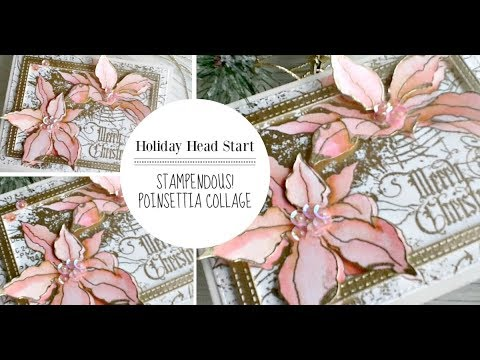 Stampendous Cling 6x6 Stamp Poinsettia Collage