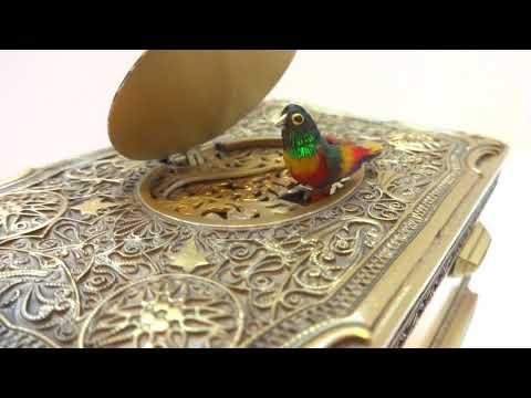 Vintage Karl Griesbaum enamel singing bird box. www.singingbirdbox.com