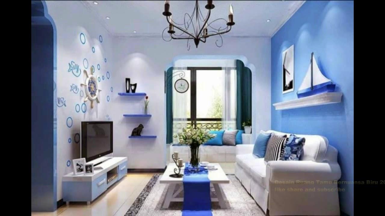 Desain Ruang Tamu Bernuansa Biru