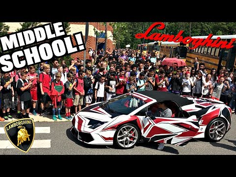 Getting Picked Up From Junior High School In A Lamborghini! Funny Supercar Reactions!!