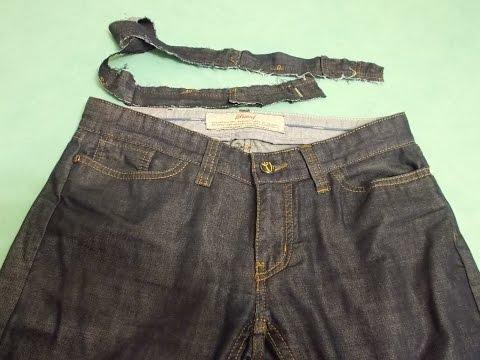 как сделать джинсы с заниженной талией?заниженная талия.джинсы бойфренды