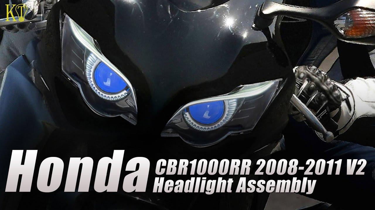 Kt led headlight assembly fit for honda cbr1000rr 2008 2011 v2