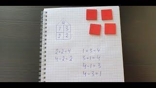 состав числа 4 и домик. Математика 1 класс