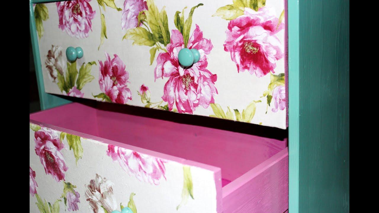 Diy mueble vintage palomamartz youtube for Decoupage con servilletas en muebles