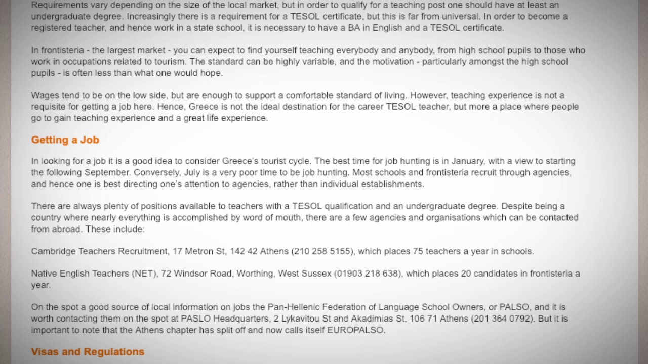 Tesol Jobs In Greece International Tefl And Tesol Training Ittt