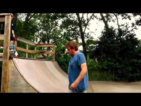 Jon Comer's backyard skateboard ramp and cookout with friends