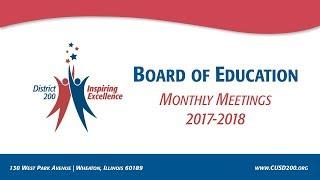 CUSD200: Board of Education Meeting: January 17, 2018