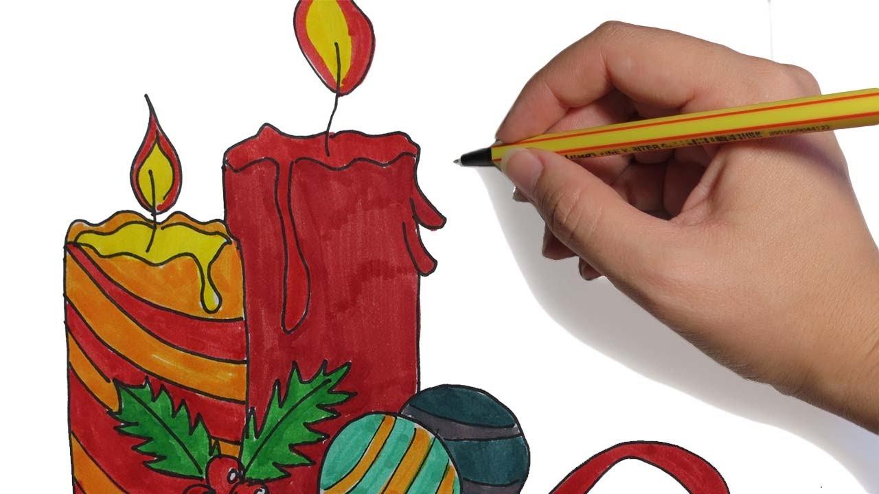 Como Dibujar Velas Navideñas Paso A Paso Facil A Color Para Navidad