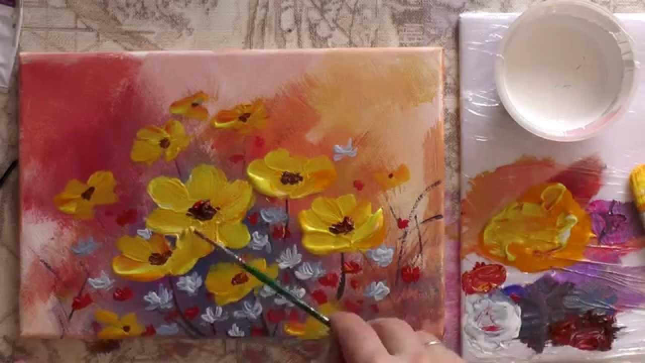 Учимся рисовать красками цветы поэтапно