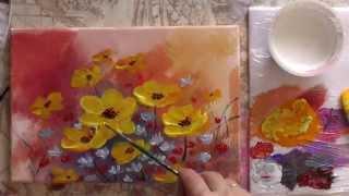 Рисуем акрилом цветы.  Спонтанный букет. Draw acrylic flowers.(Сайт проекта Арт-школа: http://sovetmasterov.ru/ Как рисовать акрилом? Ответ на этот вопрос смотрите в демонстрационно..., 2014-11-19T12:28:34.000Z)