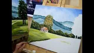 Como pintar casinha e gramado – Pintura em tela para iniciantes