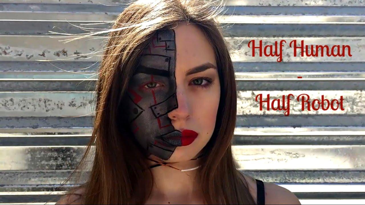 Μισή άνθρωπος-Μισή Ρομπότ makeup tutorial (Half human-half ...