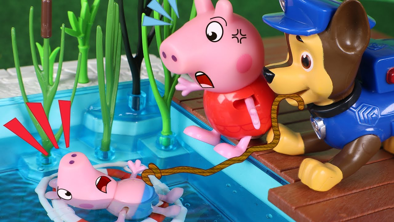 Peppa Pig Toys George Falls Into The Pool Youtube