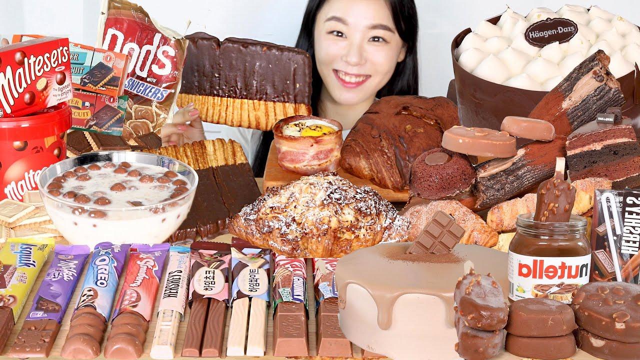 ASMR Chocolate Dessert Mukbang 초코디저트 먹방🍫 파리바게트 뚜레쥬르 하겐다즈 아우어베이커리 몰티져스 누텔라 티코 구구 Cake Bread Ice Cream