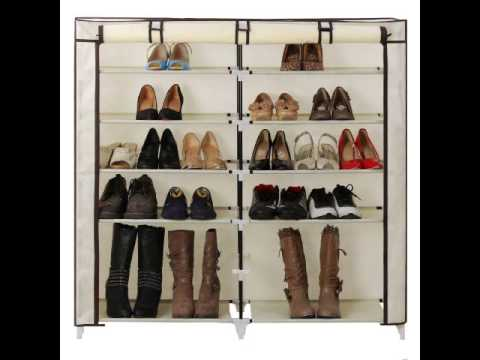 songmics 7 tiers 36 pairs portable shoe rack closet with fabric cover shoe storage organizer cabinet