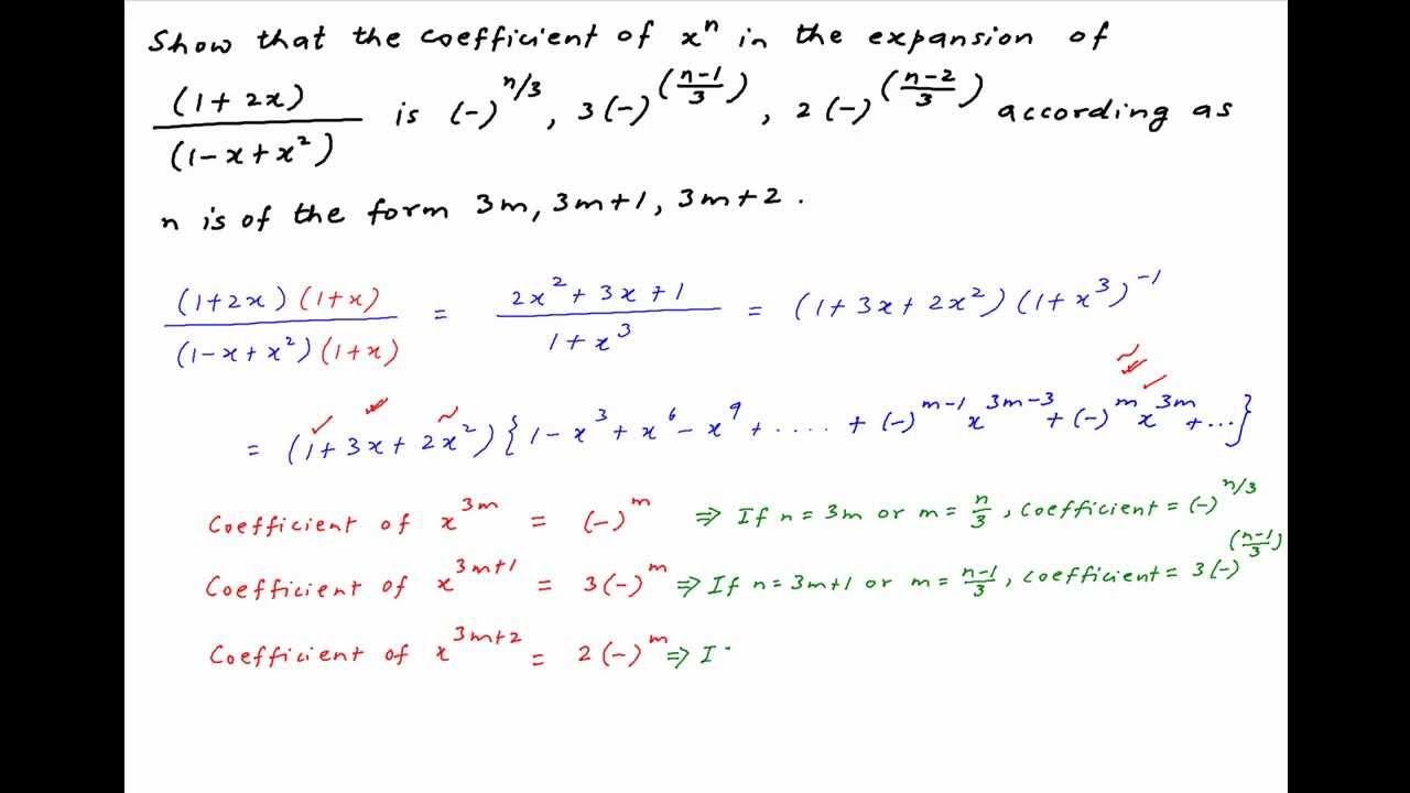 Find The Coefficient Of Xn In Expansion Of 12x1 Xx2 Youtube
