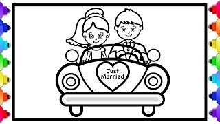 Wedding Bride and Groom Coloring Page for Kids 💜Bride and Groom In Love 💜Childrens Coloring Page