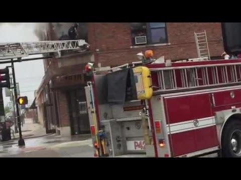 Kansas City Fire Department crews battling apartment fire in Grandview