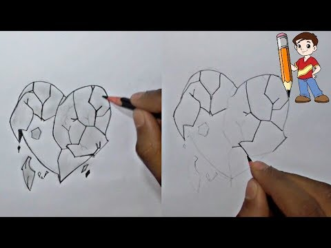 How To Draw A Broken Heart Easy By Using A Simple Pencil Youtube