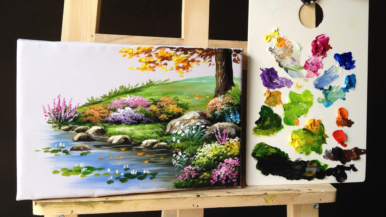Watercolor Flowers And Paint Brushes: How To Paint Bushes Flowers Lesson 2