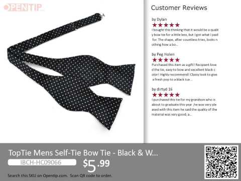 TopTie Mens Black & White Polka Dots Self-Tie From Opentip.com