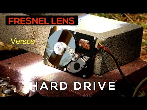 Fresnel Lens, creepy music and a RUNNING Computer Hard Drive