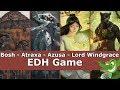 Bosh vs Atraxa vs Azusa vs Lord Windgrace EDH / CMDR game play for Magic: The Gathering