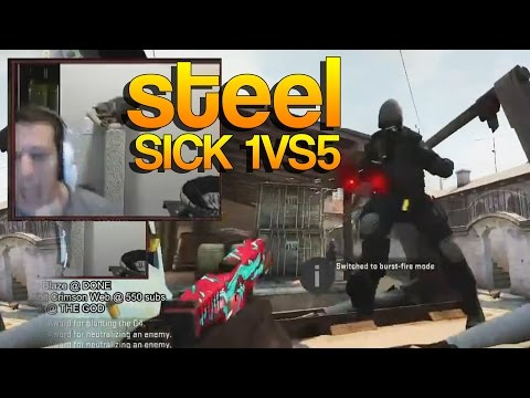 CS:GO - Steel SICK 1vs5 on Stream!