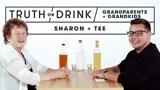 Grandparents & Grandkids Play Truth or Drink (Sharon & Tee) | Truth or Drink | Cut