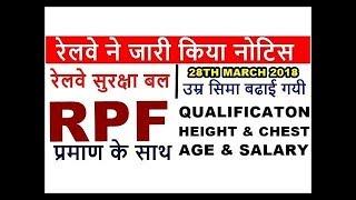 RPF Recruitment 2018 Official Notification - 8619 vacancy RPF constable eligibility, syllabus exam