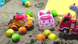 99 Tayo cars toys learning videos for kids  Earthquake in Robocar Poli town  AMBER Rescue   MariAndT