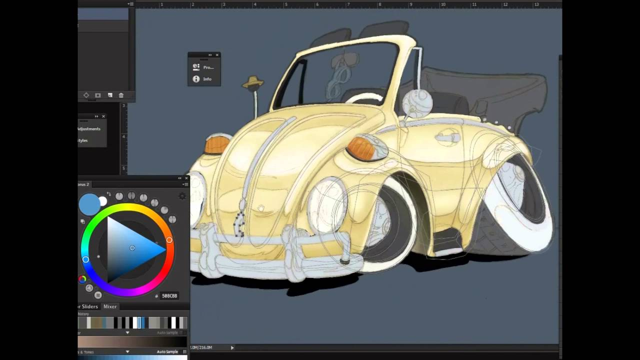 Photoshop pen tool: Drawing a car, using paths. TEST - YouTube