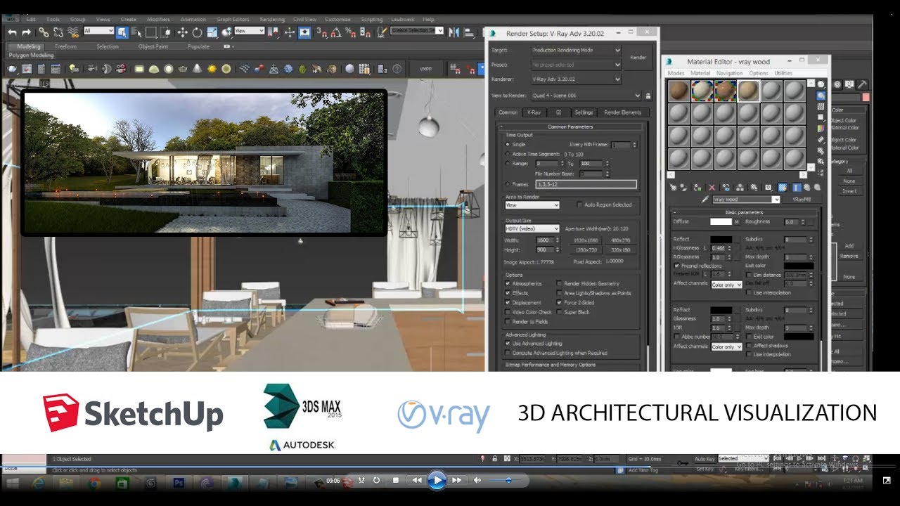 how to import google sketchup skp file to 3Ds max vray scene